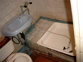 Badeværelset på hotellet i Opotjka.